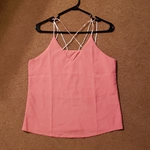 Hot pink cross chested v neck tank top